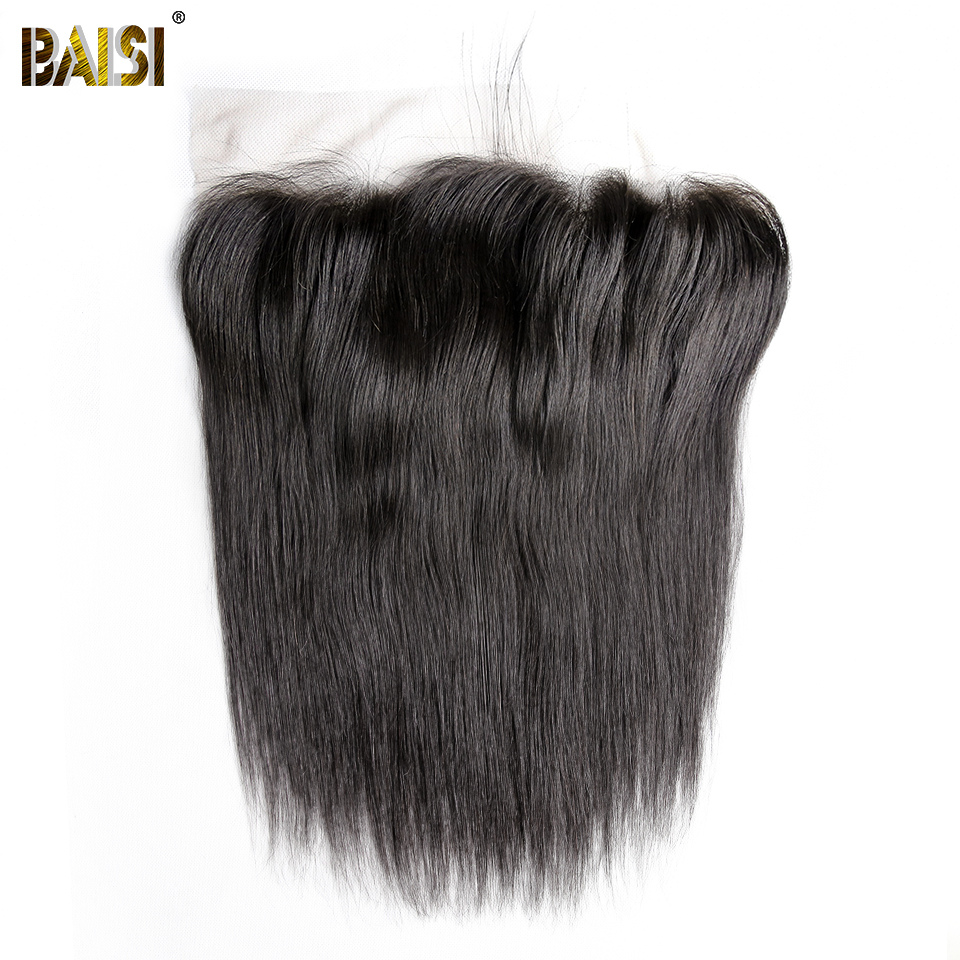 BAISI Hair Peruvian Virgin Hair Transparent Lace Frontal Straight Frontal 13x6 with Pre Plucked Natural Hairline