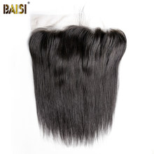 BAISI Peruvian Virgin Hair Transparent lace Frontal, Straight Frontal size 13*6, Plucked Natural Hairline(China)