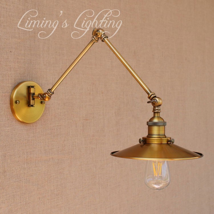 Vintage Light Fixtures Minneapolis: Golden Loft Style Antique Swing Arm Wall Sconces Bedside