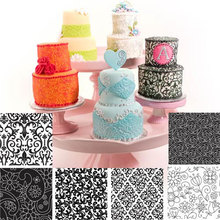 Texture Sheet Set of 6 Different Floral Texture Mat Decorating Cookies Cupcake Rolled Fondant Cake Buttercream Icing Accessories