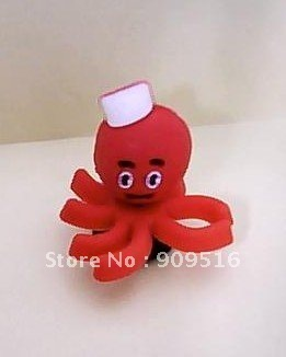 The Red octopus 3D pvc clog charms
