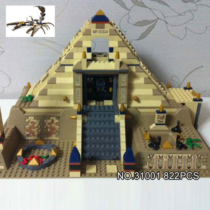 Hot world famous Architecture Pharaoh Scorpion Pyramid quest building block model Anubis Mummy figures brick 7327 toy collection 2017 hot loz world famous architecture mini diamond building block opera house sydney australia nanoblock diy model toy for kids