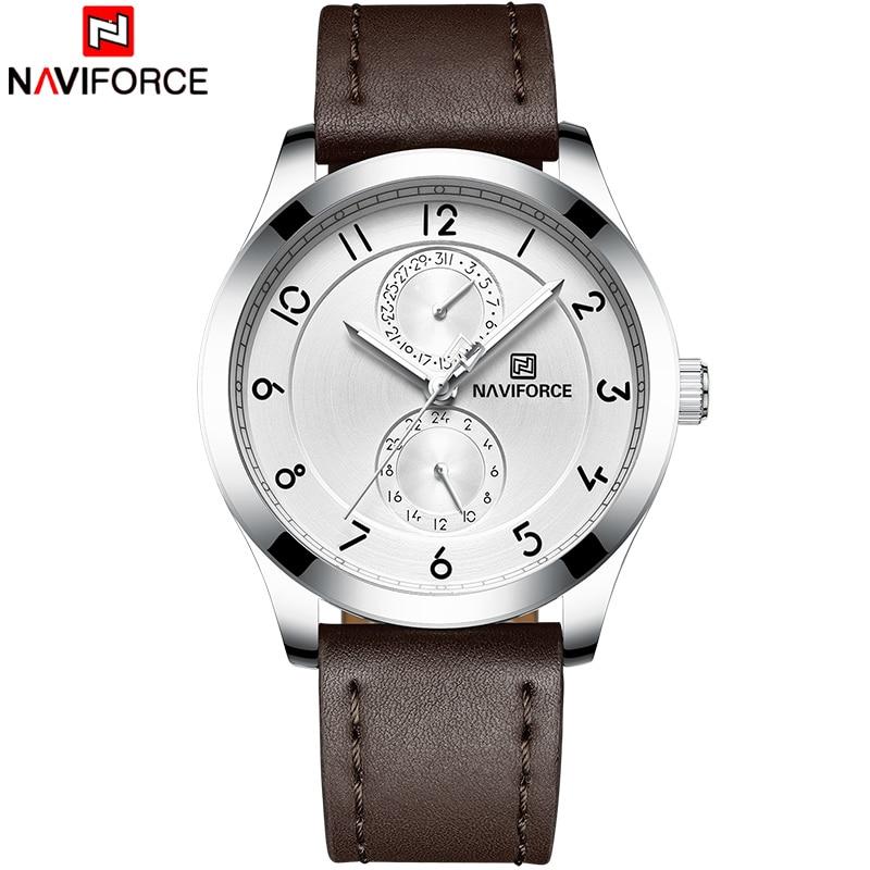купить 2018 Men Watches New Top Brand NAVIFORCE Men's Sports Military Watch Male Fashion Quartz Leather Analog Clock Relogio Masculino по цене 1542.86 рублей