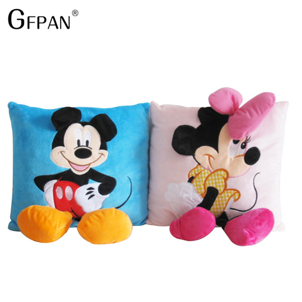 35*35 cm Mickey Mouse et Minnie coussin en peluche, dessin animé Mickey Mouse et Minnie oreiller voiture coussin cadeau de noël pour les enfants