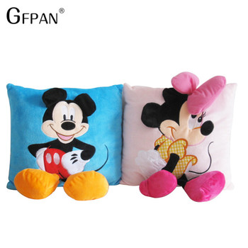 35*35cm Mickey Mouse and Minnie plush Pillow Cushion,Cartoon Mickey Mouse and Minnie Pillow Car Cushion Christmas Gift For Kids