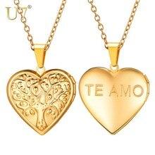 U7 Tree of Life Pattern Necklace for Women Heart Locket Pendant Photo Frame Memory Romantic Lover Girlfriend Jewelry Gift P1245 все цены