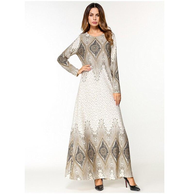 Fashion Flower Print Muslim Dress Women Abaya Middle East Long Robe Gowns Ramadan Dubai Arab Islamic Clothing