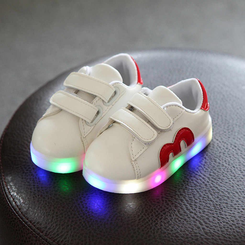 ขนาด 21-30 USB ชาร์จเด็กรองเท้า Sole Enfant Led Light เรืองแสงรองเท้าผ้าใบสำหรับรองเท้าเด็กรองเท้า Led
