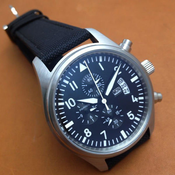 Parnis 42mm Pilot Chronograph Black Dial Stainless Steel Case Wrist Watch