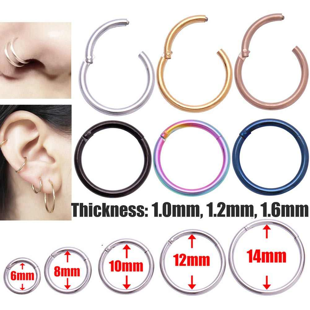 New Arrival 1PC Surgical Steel 1.0mm/1.2mmHinged Septum Clicker Nose Hoop Rings Ear Tragus Lip Piercing Nose For Unisex Jewelry