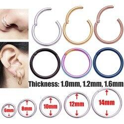 Yeni Varış 1 PC Cerrahi Çelik 1.0mm/1.2 mmHinged Septum Clicker Burun Hoop Yüzükler Kulak Tragus Dudak Piercing burun Için Unisex Takı