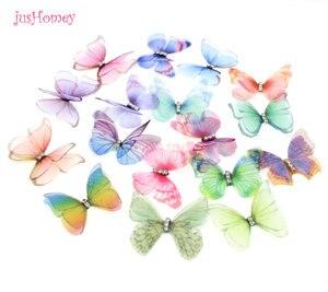 Image 2 - 100 adet degrade renk organze kumaş kelebek aplikler saydam şifon kelebek parti dekor, bebek süsleme