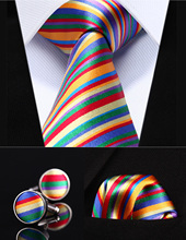 """Party Hochzeit Klassische Einstecktuch Krawatte TZS02G8 Grün Rot Gestreiften 3,4 """"Silk Männer Krawatte Taschentuch Manschettenknöpfe Set"""