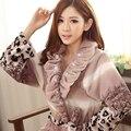 2016 nova Outono Inverno mulheres bonito sleepwear robe longo-luva flanela roupão de lã femal espessamento roupões de banho quente pijamas