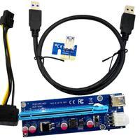 HIPERDEAL Neue USB 3 0 PCI E Express 1x Zu 16x Extender Riser Karte Adapter SATA 6Pin Power Kabel 18Mar27 Drop Schiff|Add-On Karten|   -