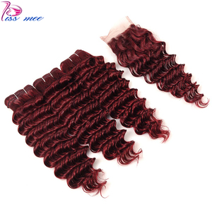 Kiss Mee Color 99J Remy Brazilian Hair Weave Bundles Burgundy Human Hair Bundles With Closure Deep Wave 3 Bundles With Closure