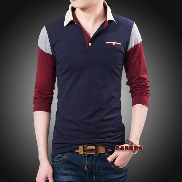Nuevo 2017 hombres de color del topetón ocio solapa de la moda de algodón de manga larga polo camisas/casual masculina doble cuello de manga larga camisas de polo