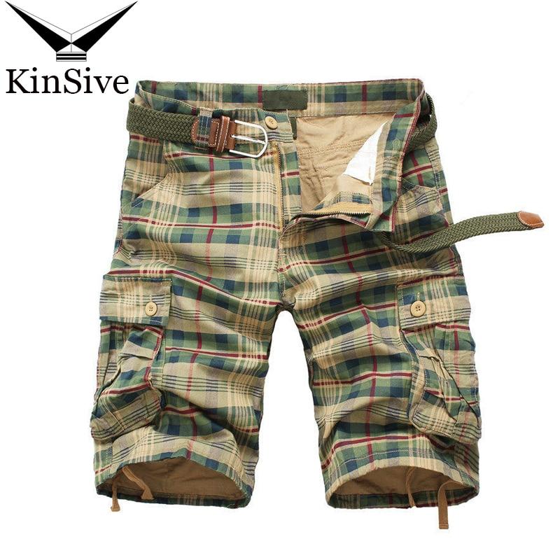 Men Shorts 2018 Fashion Plaid Beach Shorts Mens Casual Camo Camouflage Shorts Military Short Pants Male Bermuda Cargo Overalls