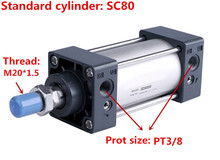 Free shipping high-quality SC80 series bore 25mm to 1000mm stroke Standard cylinder air pneumatic cylinder цена 2017