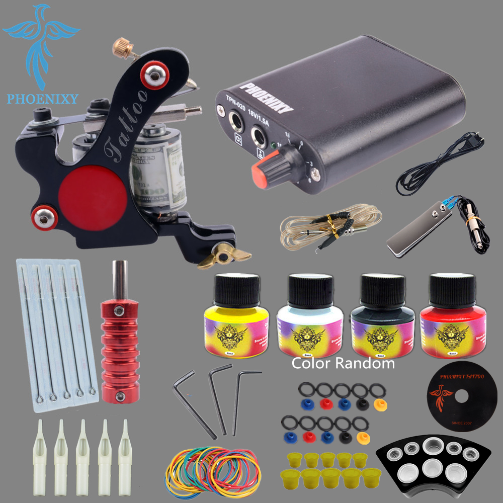Beginner Tattoo Starter Kits 8 Wrap Coils Guns Machine Kit Set 4 Color Tattoo Ink Sets Power Supply Needles Permanent Tattoo Kit professional tattoo kits liner and shader machines immortal ink needles sets power supply