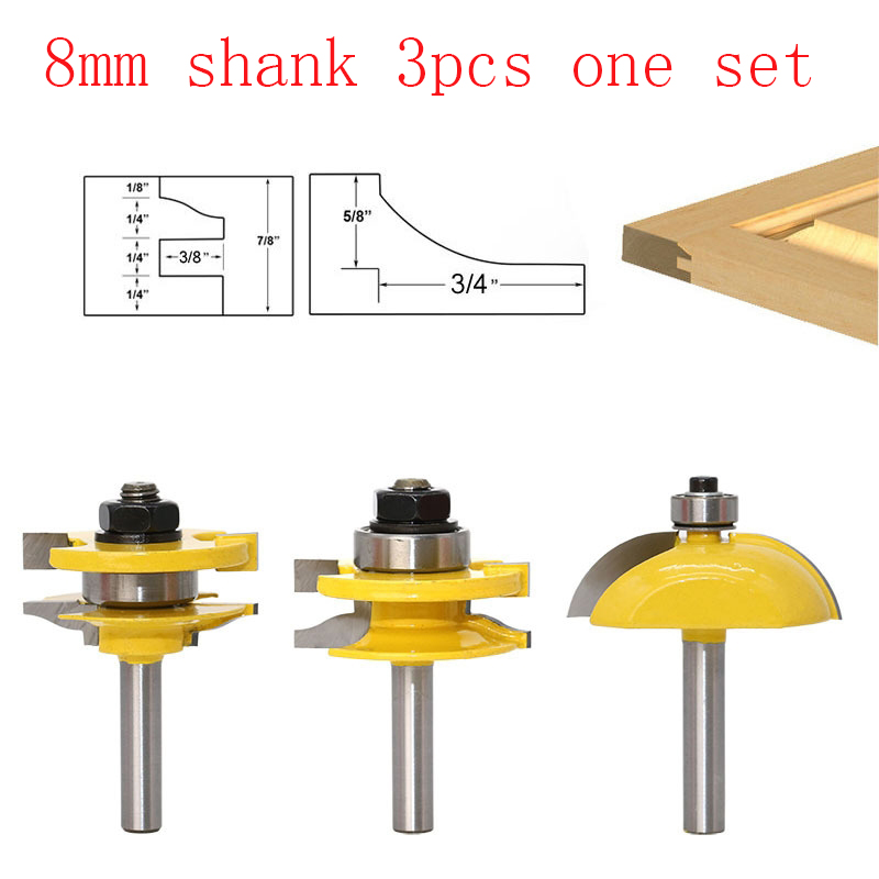 3pcs Rail & Stile With Panel Bit Router Bit Set - Ogee - 8mm Shank Woodworking cutter Tenon Cutter for Woodworking Tools 1pcs 8mm shank entry door for long tenons router bit woodworking cutter woodworking bits tenon cutter for woodworking tools