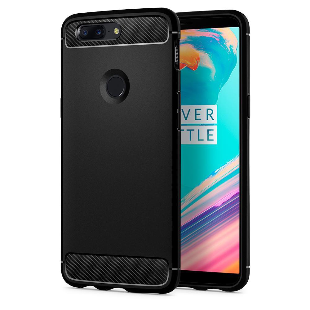 Original Rugged Armor Case for OnePlus 5T - Carbon Fiber Style Soft TPU Material Phone Case Black K05CS22712