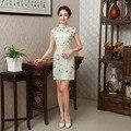 Short Silk Cheongsams Women Floral Flowers Short Sleeve Cheongsam Dress Sexy Chinese Dress Stand Collar Plus Size Qipao Dress