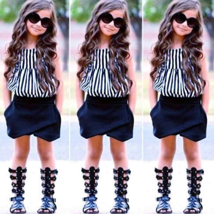 חדש לפעוטות ילדים בייבי בנות תלבושת בגדי פסים חולצה חולצות + מכנסיים מכנסיים סט אופנה מגניב בנות שמלת July24