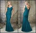 Elegant V-neck Lace Apliques Mãe dos Vestidos de Noiva com Frisos Teal Azul Backless da Sereia Mãe dos Vestidos de Noivo
