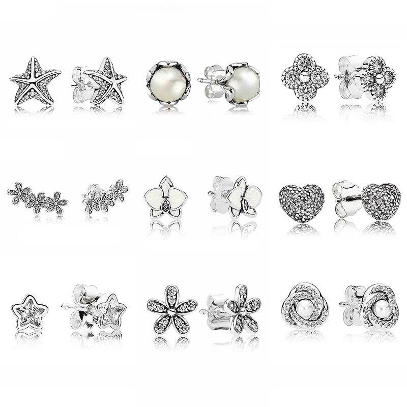 e36ff9566c32 Deslumbrante Daisy grupos blanco orquídea de Plata de Ley 925 pendientes de  plata para las mujeres