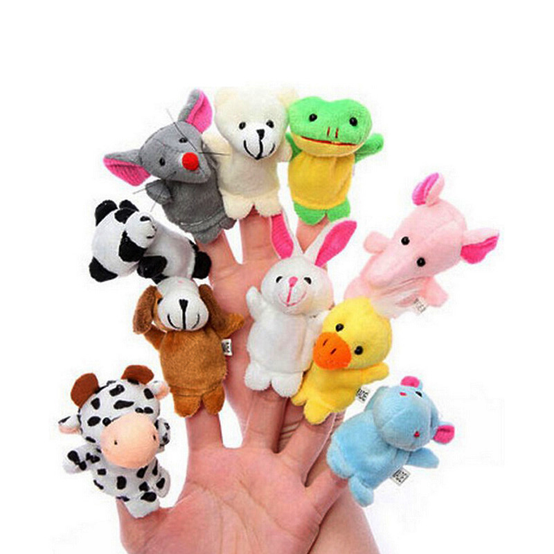 10 pieces animal finger puppets doll Baby Kids finger Plush Toy Puppet Tell Story Props Animal Toys Children's Day gift Juguetes