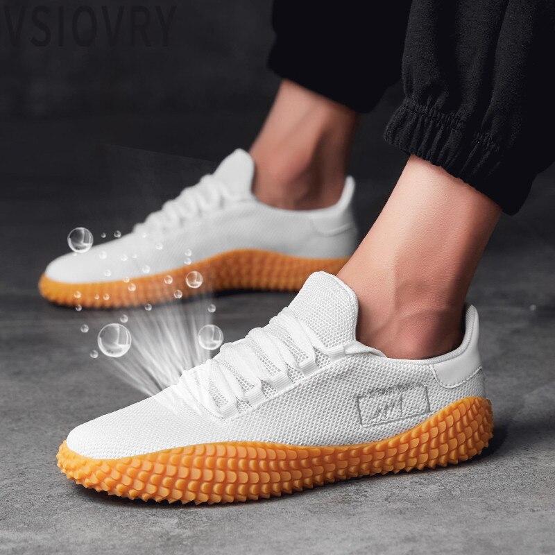 VSIOVRY 2018 nuevos zapatos blancos de verano de los hombres de malla transpirable zapatos casuales de los hombres de la armadura de la mosca zapatillas de deporte primavera otoño negro rojo zapatos masculinos