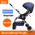 Campana del cochecito de bebé de dos vías plegable portátil ultra-ligero paraguas coche coche de bebé de verano