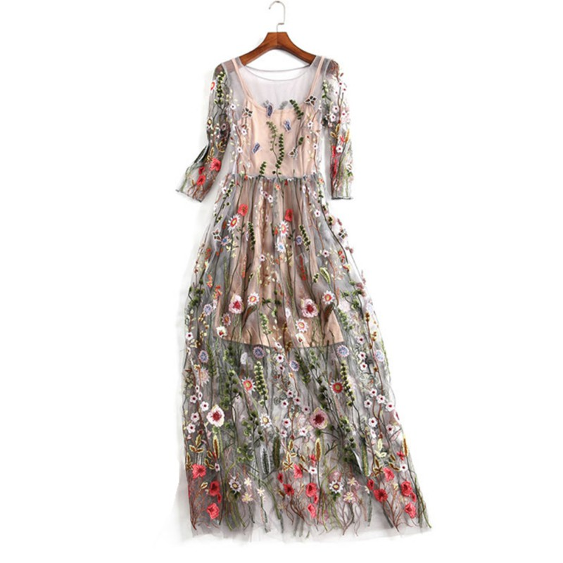 Lace Flower Embroidery Mesh Dress Sexy O Neck Slim Lady Summer Women Clothing Two Pieces Set