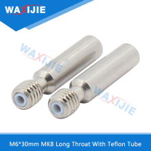 10PCS/Lot M6*30 MK8 Long Throat With Teflon Tube M6 Thread Stainless Steel Feeding Part For 1.75mm Filament 3D Printer Parts цена 2017