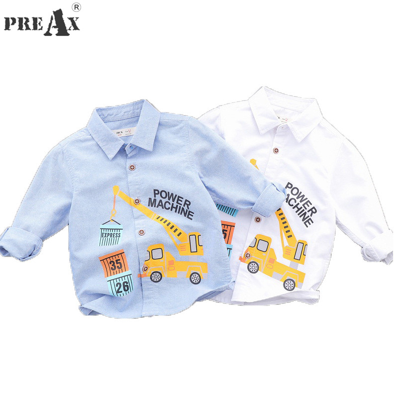 Boys Shirts Baby Clothes Nn Top 100 Kids 100% Cotton Cartoon Car Printing White Blue Shirt Fashion Kids Boys Long Sleeve Tops