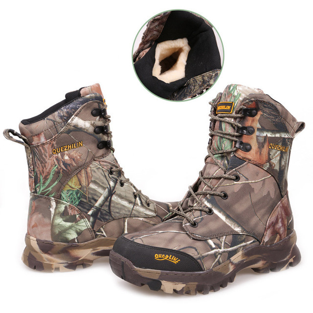 Winter Thick Fleece Warm Bionic Camouflage Snow Boots Outdoor Waterproof Desert Jungle Hiking Hunting Tactical High Shoe 46 size