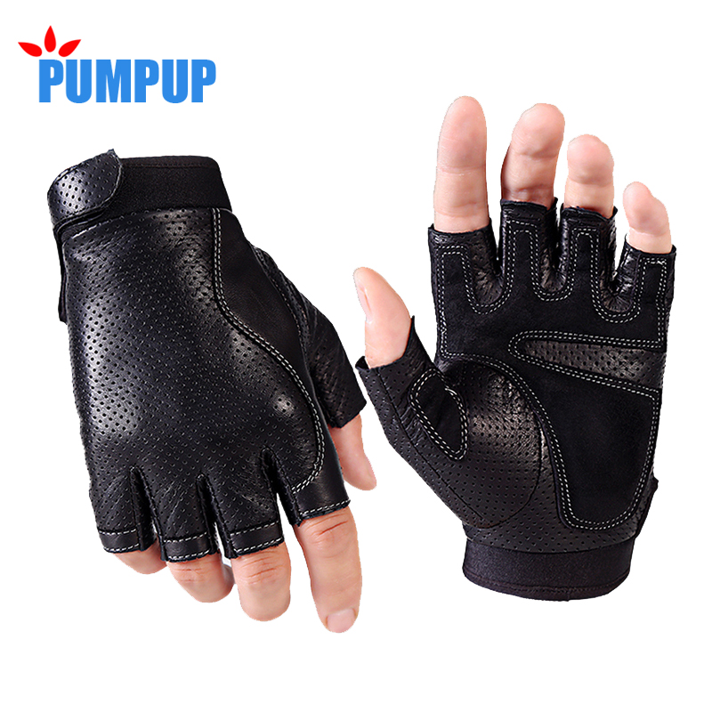 2017 Sports Half Finger Gloves Men Faux Leather gym weight ls