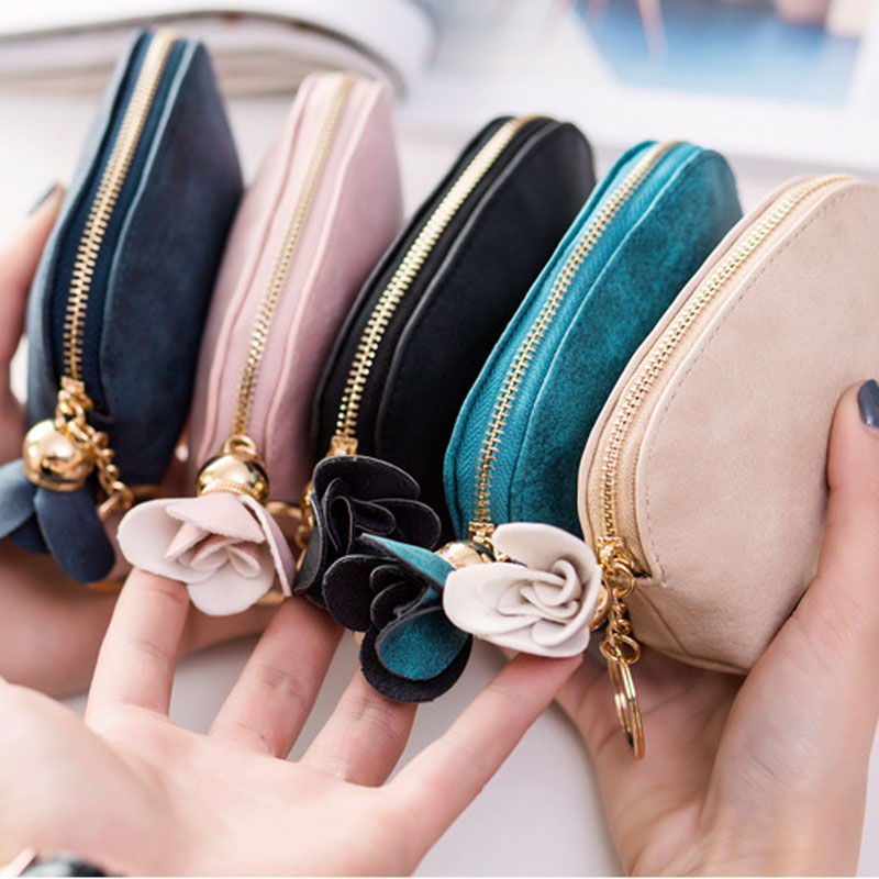 WENYUJH 2019 Women Small Key Case Mini Cute Wallet Money Bag Holder Zip Purse Clutch Handbag for Girl Kid Flower Coin Pouch