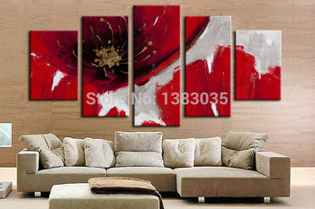 Hand Painted 5 Piece Modern Abstract Red Flowers Blossom Wall Art Oil Paintings On Canvas Set Pictures Home Decor
