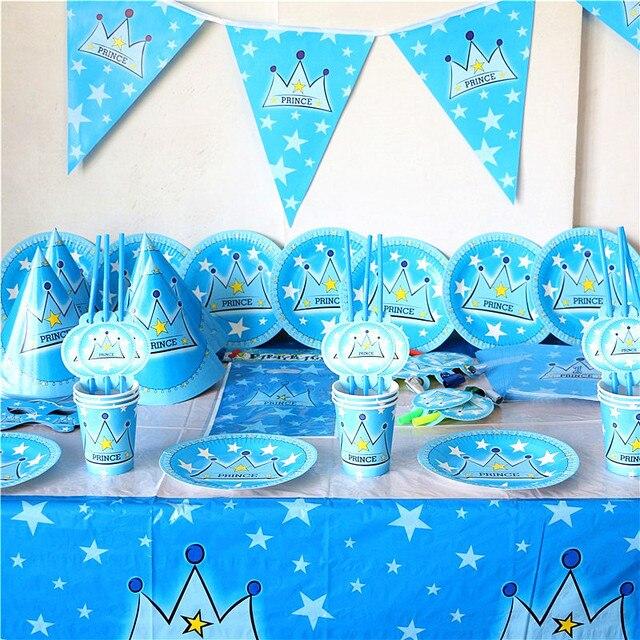 83 шт. Принц Корона тема принца день рождения тарелки баннер шляпа Дети День рождения Сувениры принц чашки с короной