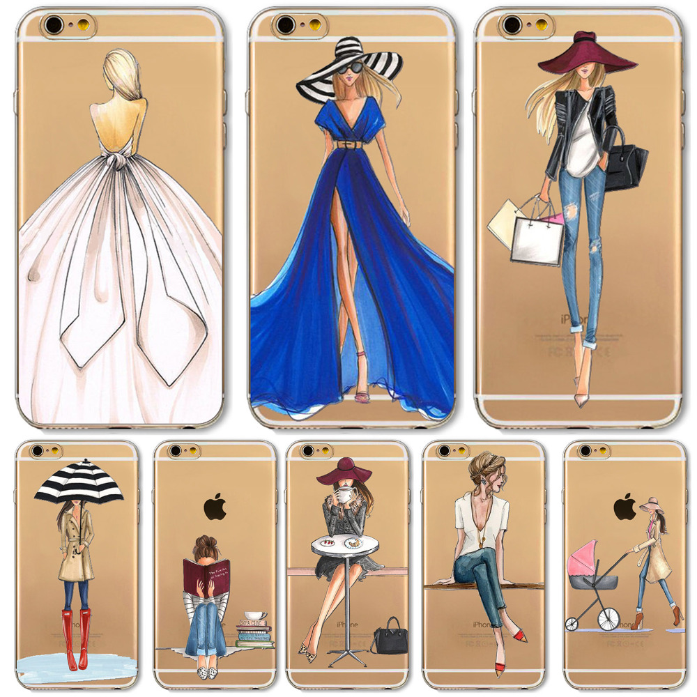 Mobile Phone Bags & Cases: Mobile Phone Case For iPhone 7 6 6s Plus 6Plus 4 4S 5 5S SE 5C Bag New Modern Dress Shopping Girl Transparent Soft TPU Cover