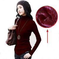 Slim Interior Velvet Casual Thick Warm Fashion Women S Autumn Winter Turtleneck Sweater Big Size Solid