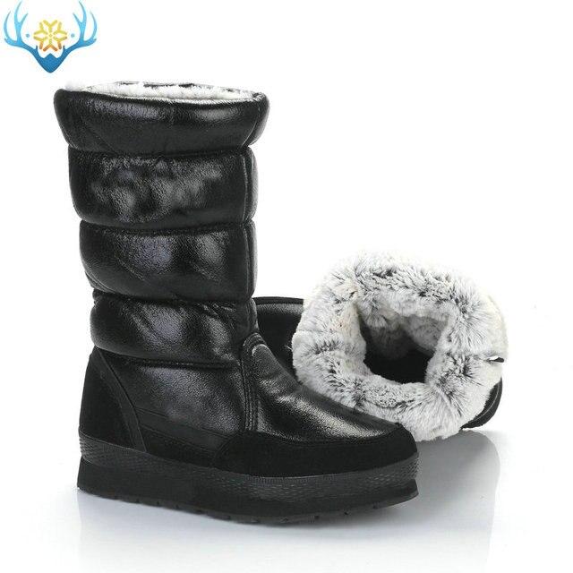 أسود أحذية عالية النساء الشتاء حذاء الثلوج الانزلاق على لا سستة إيفا مع المطاط وحيد لينة الاصطناعية الأرنب الفراء مقاومة للماء العلوي