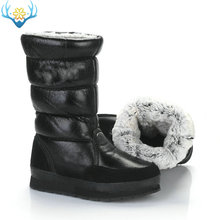Black high boots women winter snow boot Slip on no zipper EVA with rubber sole soft synthetic rabbit fur water resistance upper