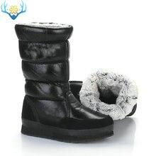 Botas altas pretas botas de neve de inverno feminino deslizamento sem zíper eva com sola de borracha macia pele de coelho sintético água resistência superior