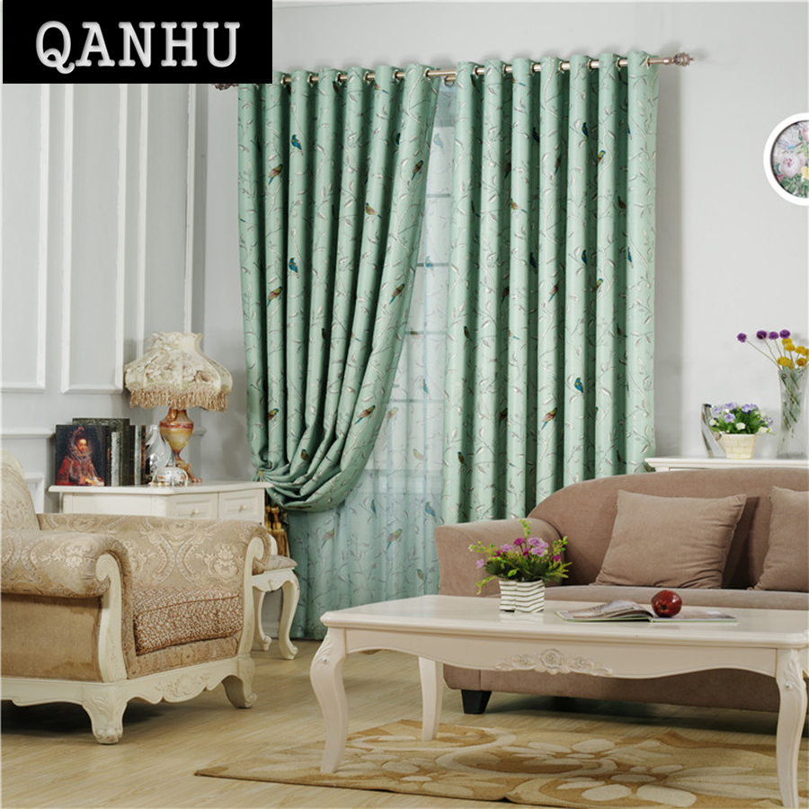 Blackout curtains for bedroom - Qanhu Classic Green Forest Curtains For Kitchen Pattern Landing Customize Blackout Curtains For Bedroom Curtains Set