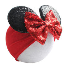 Baby Bows Sequines Minnie Mouse Ears Girls Headbands Newborn Babes Turban Headwrap