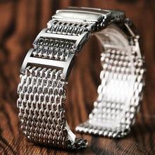 20 مللي متر 22 مللي متر 24 مللي متر الفاخرة القرش حزام ساعة يد شبكي حزام الفولاذ المقاوم للصدأ استبدال للطي المشبك مع السلامة الفضة + 2 قضبان الربيع