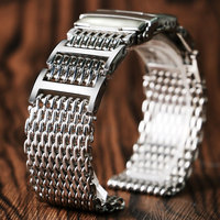 20mm 22mm 24mm Luxury Shark Mesh Watch Band Strap Stainless Steel Replacement Folding Clasp with Safety Silver+ 2 Spring Bars